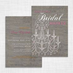 Vintage Chandelier Bridal Shower Invitation - get ready to shower the bride with this beautiful rustic double-sided invitation - holly's joy on etsy