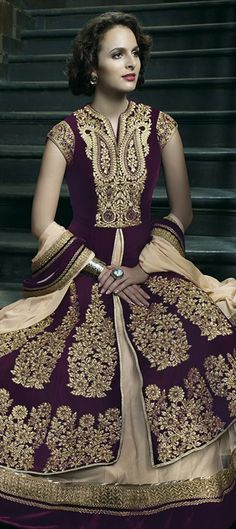 403854, Anarkali Suits, Velvet, Thread, Lace, Machine Embroidery, Zari, Red and Maroon Color Family