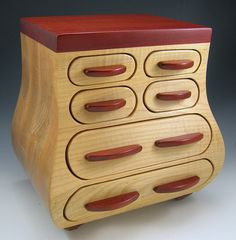 Large Maple and Bloodwood Jewelry Box with Secrets by Ginsjewelbox, $495.00
