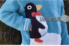 """Пуловер спицами для мальчика """"Пингвин фигурист"""""""