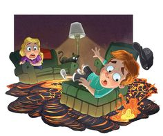Here is the sixth image of a side project called Illustrated Imagination a series where I illustrate children using their imagination and it coming alive. THE FLOOR IS LAVA!! #ajmspip #childrensillustration #children #illustree #illustration #photoshop #familyroom #lava #kids #imagination #fun #ginger #cat #furniture by andrew.laitinen