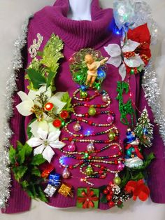 NOEL Decorative Christmas Sweater Women Size Medium by WowChristmasSweaters on Etsy