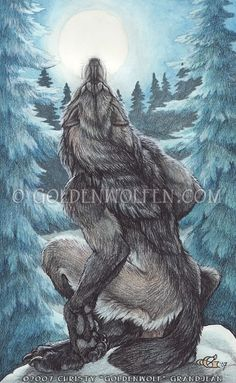 """Moon Howl"" by Christy ""Goldenwolf"" Grandjean Prints available: http://www.goldenwolfen.com/site/?page_id=43"