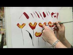 Acrylmalen: Malen lernen, Übungen zur Mohnblume/ Acrylic painting Tutorial Demo…