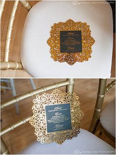 Stunning laser cut menus are printed with gold foil, printed with gold foil and then laser cut! We can do any design or idea! Click to see more custom menus or pin for your inspirations!