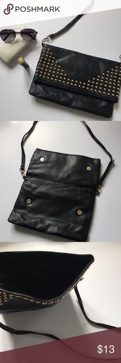 Black Purse Gold Stud Embellishments Details Strap Simple black clutch – purse. Easy to throw your glasses car keys and lipstick into for a night out. Measurements in pictures.  Trendy, chic, edgy, concert festival, bold Bags Crossbody Bags