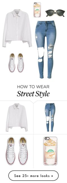 """""""street style"""" by pauline02 on Polyvore featuring Y's by Yohji Yamamoto, Converse, Casetify and Ray-Ban"""