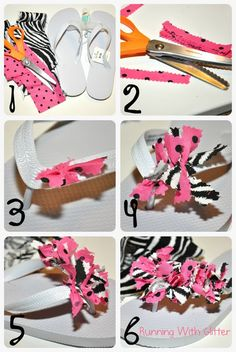 DIY Scrappy Flip Flops - crafts for a party! Flip Flops Diy, Flip Flop Craft, Fabric Flip Flops, Ribbon Flip Flops, Spa Birthday Parties, Spa Party, Slumber Parties, Sleepover, Slumber Party Crafts