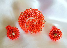 Vintage Brooch and Earring Set in Orange Enamel by Ladysfancys, $24.99