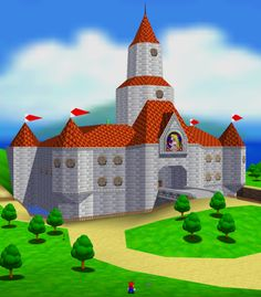 Super Mario 64 revolutionized jumping around in space. You can spend hours just running around Peach's Castle. Super Smash Bros, Super Mario Bros, New Video Games, Video Game Art, Princesa Peach, Dragon Tales, Porch And Balcony, Video Game Development, Super Mario World