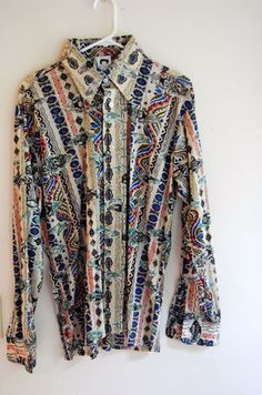 Deadstock 70s Men's Poly shirt in Tribal by NorthCountryClassics, $36.00