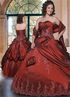 Ball Gown Strapless Sweetheart Neckline with Embroidery Floor Length Quinceanera Dress QD1067