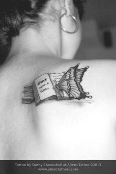 Butterfly reading Book Tattoo, Design and Inked by Sunny Bhanushali at Aliens Tattoo, Mumbai. Time Tattoos, Back Tattoos, Future Tattoos, Body Art Tattoos, New Tattoos, Cool Tattoos, Tatoos, Ankle Tattoos, Sister Tattoos