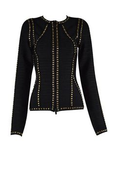 New Arrival Black with Gold Metallic High Quality Bandage Woman Slim Fit Winter Jackets
