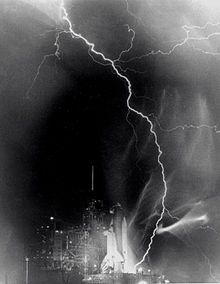 Lightning strikes the Space Shuttle Challenger before the launch of STS-8.