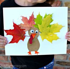 Learn how to make this cute leaf turkey craft for kids! It's a fun and easy thanksgiving art project to do.