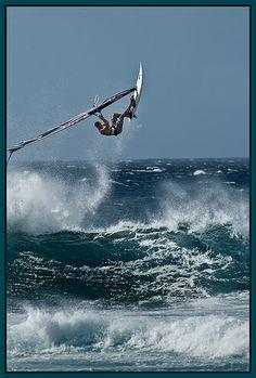 Wind Surfer, Ho'okipa Beach, northern Maui, Hawaii