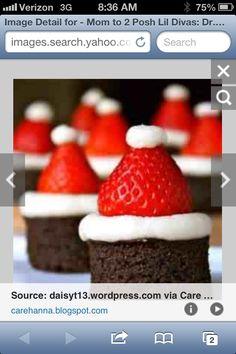 Brownie bites + whip cream + strawberries