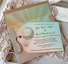 Wedding Invitation Hot Air Balloon Vintage Hinged Shipping Tags Watercolor Sunrise by SunshineandRavioli on Etsy https://www.etsy.com/listing/164842230/wedding-invitation-hot-air-balloon
