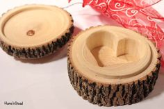 Rustic Log Jewelry Box Heart Shaped Custom Personalization Rustic Wedding Ring…