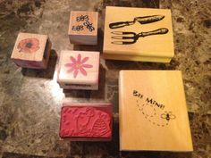 SPRING LOT OF 6 FLOWERS GARDEN BEES RUBBER STAMPS WOOD MOUNTED ANITAS SUGARLOAF #ANITAS