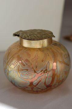 Iridescent Bohemian Austrian Art Glass Ink Well Pulled Feather Top