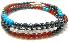 carnelian, hematite, turquoise, sterling silver & crystal bar  Oie jewelry