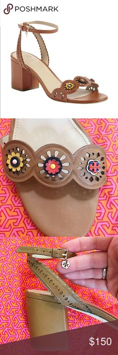 """Tory Burch Marguerite Block Sandal Size 8.5 Brand New, Tory Burch Marguerite Block Sandal!  Retail: $325 / Size: 8.5 / Color: Royal Brown   Show off a fresh pedi in this block-heel leather sandal with a pretty scalloped strap brightened with floral embellishments. 2 3/4"""" heel  Adjustable ankle strap with buckle closure Leather upper, lining and sole. Offers welcome! 🌟 Tory Burch Shoes Sandals"""