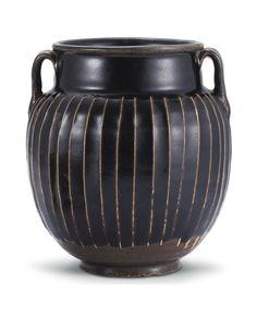 A 'HENAN' BLACK-GLAZED RIBBED JAR, SONG DYNASTY