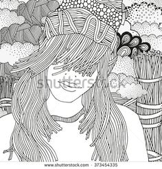 Girl in a knitted cap. Pattern for coloring book. Old rustic fence and clouds. Sketch. Zentangle patterns.  #imhope #zentangle #zenart #coloring #girl #cap #handdrawn