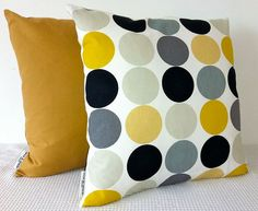 Retro dots in yellow mustard greys black and white by miaandstitch, $25.00 - COVER ONLY