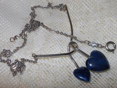 """Vintage 1976 Sarah Coventry """"DUO HEART"""" Silver Tone Blue Marbled Hearts Drop Pendant Chain Link Necklace by cherylsvintagebling. Explore more products on http://cherylsvintagebling.etsy.com"""