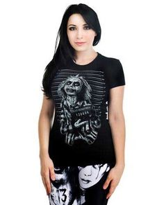 Babydoll Shirt by Too Fast Clothing- Beetlejuice Beetleman Mugshot Beetlejuice Girl, Punk Outfits, Fashion Outfits, Zombie Style, Witchy Outfit, Gothic Tops, Mug Shots, Unique Outfits, Online Clothing Stores