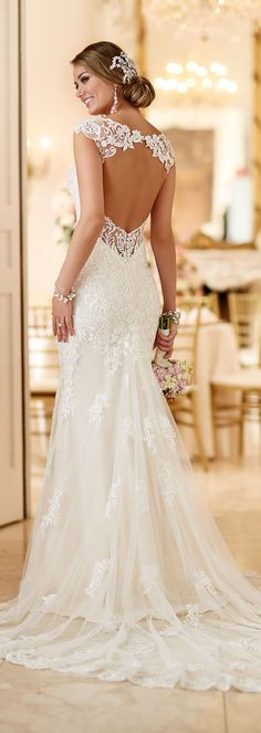 Stella York open back lace wedding dresses