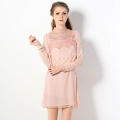 Buy 'YesStyle Z – Mock-Neck Lace Panel Chiffon Dress' with Free International Shipping at YesStyle.com. Browse and shop for thousands of Asian fashion items from Hong Kong and more!