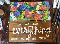 A wood pallet art piece perfect for an space needing some inspirational art. He has made everything beautiful in its time is a perfect reminder that everything is all right and hes got your back Wood Pallet Art, Wooden Pallets, Bible Art, Bible Verses, Rustic Flowers, Do It Yourself Projects, Popular Woodworking, Canvas Art, Canvas Ideas