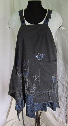 Купить Бохо сарафан фартук - тёмно-синий, цветочный, сарафан, фартук, бохо, бохо стиль