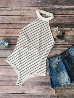 Stripe print bodysuit features a mock neckline. Style Boho, My Style, Mode Du Bikini, Body Suit Outfits, Body Suits, Pullover Shirt, Summer Outfits, Cute Outfits, Striped Bodysuit