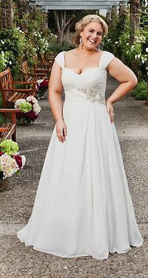 Beautiful Cap Sleeve Chiffon Wedding Dress Bridal Gown Custom Plus Size