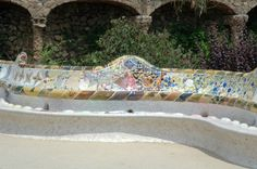 Longest continuous mosaic bench in the world. In the Guiness Book of World Records. in Park Guell that was designed by Gaudi. Barcelona, Spain