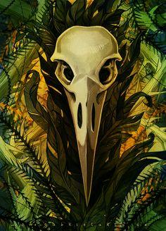 Raven Skull Postcard Ink digital color A6 http://ift.tt/2cR5TzM