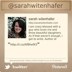 @sarahwitenhafer's #Twitter profile courtesy of @Pinstamatic (http://pinstamatic.com)
