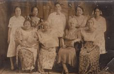 Group of dignified Filipina women in traditional dress at the turn of the century. Filipina, Pinoy, Traditional Dresses, Philippines, Mount Rushmore, Hero, Costumes, Group, History