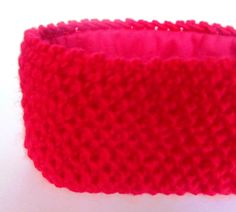 Red fleece lined knitted headband ski accessory for by Johannahats, $33.00