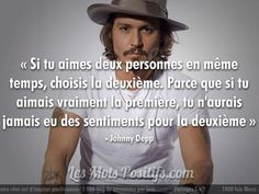 Quotes and inspiration QUOTATION - Image : As the quote says - Description L'amour selon Johnny Depp Je partage ! Best Quotes, Love Quotes, Inspirational Quotes, The Right Person Quotes, Johnny Depp Quotes, Mantra, Bob Marley, Johny Depp, French Quotes