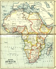 """Modern Africa, 1913, by J.G. Bartholomew, LL.D., originally published in """"A literary and historical atlas of Africa and Australasia,"""" by J. G. Bartholomew, London: J. M. Dent & Sons Ltd; New York: E. P. Dutton & Co. Inc. 1913."""