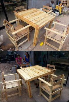 This awesome creation of wood pallet chairs and table is accessible in the low cozy height level so that it would be convenient for you to approach it while sitting on it. It has been further put together with the accompany of the chair piece work being part of it. See the image to get some idea!