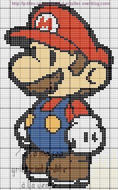 grille gratuite : Mario - Le blog de 7 à la maison, point de croix, tricot, grilles gratuites...