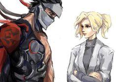 Overwatch - Uprising comic - Genji and Mercy by KiwiStarling