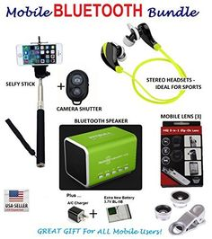 HiQ Mobile Bluetooth Bundle  Headsets Speaker Selfy Stick Lens Shutter Charger ** Learn more by visiting the image link.